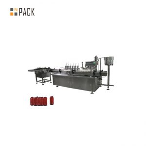 Small bottle of eye drops, nail polish filling machine and capping machine