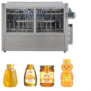 Automatic Servo Piston Type Sauce Honey Jam High Viscosity Liquid Filling Capping Labeling Machine Line